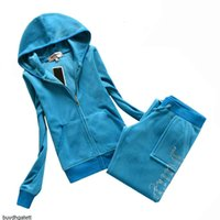 Juicy Tracksuit Coutoure Women Velvet Track Suit Couture Sportswear Jacket Pants Fall Winter Two Piece Set BrandQVCP