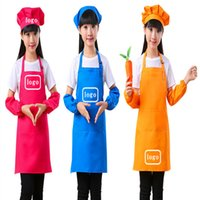 100% polyester kids apron set can custom logo for bread baking cooking with chef hat
