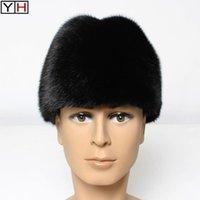 الشتاء الرجال القبعات الحقيقية في الهواء الطلق رئيس الدافئة خليط بونيه أسود / بني 100٪ الطبيعية حقيقية قبعة بيني واسعة بريم