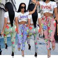 2018 Women High Fashion Two Piece Sets Summer Striped LOVE Printed Jumpsuit Crop Tops with Skinny Pants