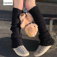 Punk Solid Black Cool Knit Long Socks Women Outdoor Knee High Elastic Leg Warmers 2021 Lady Warm Slim Gothic Hip-hop Rock