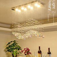 펜던트 램프 LED 럭셔리 크리스탈 웨이브 스트리밍 라이트 거실 거실 장식용 매달려
