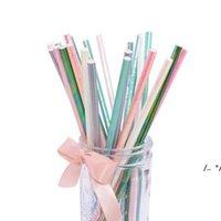 Kağıt Samanlar Glitter Katı Renk Bebek Duş Çevre Çip Düğün Doğum Günü Partisi Çocuk Içme Saman 25 adet / grup Deniz FWC6827
