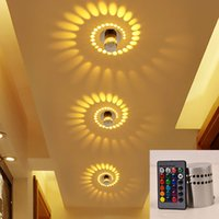 LED Spiral Wall Light Effect Ceiling Lamp RGB With Remote Controller Colorful lamp For Party Bar Lobby KTV Home Decoration Porch