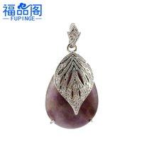 Net Creative Vermelho Jóias Natural Cristal Drop Pingente com Diamond Leaf Colar Jóias