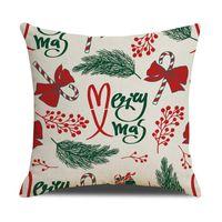 Cushion Decorative Pillow Christmas Cute Cushion Covers Linen Letters Printed Home Pillowcase Car Sofa Cover Decoration