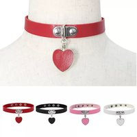 Fashion Women Punk Gothic PU Leather Choker Chain Necklaces Heart Pendant Collar Necklace Party Jewelry Gift Neck Accessories