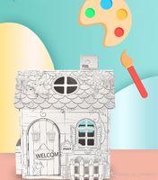Enfant peint à la main graffiti house diy 3d villa papier assemblé maison éducation éducatif interactif puzzle jeu jouet cadeau