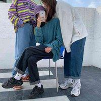 Women's Jeans LEGIBLE Mom Woman High Waist Elastic Wide Leg Denim Blue Baggy Boyfriend Femme Straight Pants FCXP