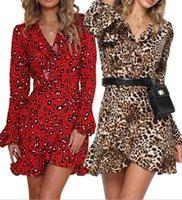 Langarm Mode Kleidung Lässig Komfortable Chiffon Damen Kleider Leopard Print Womens Sommer Hemd V-Ausschnitt
