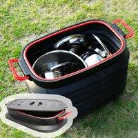 야외 가방 37L 접이식 버킷 휴대용 물 컨테이너 뚜껑 플라스틱 자동차 세척 캠프 쓰레기 낚시 배럴 저장소
