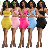 Women Tracksuits Two Piece Set Designer Sleeveless Slim Sexy Hollow Out Solid Color Hanging Neck Vest Shorts Sportwear