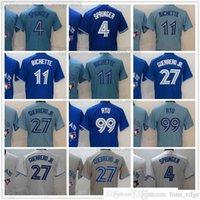 Costurado 2021 Baseball 27 Vladimir Guerrero Jr. Jerseys Azul 4 George Springer 11 Bo Bichette 99 Hyun-Jin Ryu Jersey Cinza Cinza Branco Top Quality Stitched Homem Tamanho
