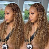 Curly Highlight Ombre 13X6 Lace Front Human Hair Wigs Pre-Plucked Remy Brazilian Wigss For Women Bleached Knots 5x5 closure wig 360 frontal full lacewigs prepluck