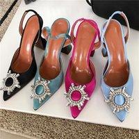 Dress Shoes 2021 Blue Red Women Pumps Silk Satin Pointy Toe Rhinestone Crystal High Heels Ladies Slip On Wedding Sandal