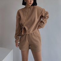 Women's Two Piece Pants Womens High Quality Tracksuits 2 Set Summmer Autumn Sweatshirt + Sporting Shorts Outfit Solid Color Suit