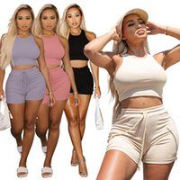 plus size 2XL Summer Women crop tops+shorts tracksuits sexy 2 piece sets sports suit crew neck capris outfits fashion clothing DHL 5050