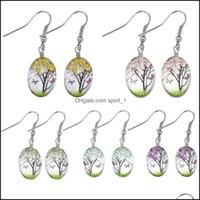 Charme Schmuckfashion Trockene Blume Baumeln Ohrring Mode Getrocknete Blumen Ohrringe Glas Oval Ball Baum des Lebens Earing Kreative Schmuck Geschenk Drop