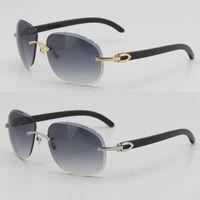 2021 Original Metall Randlose Schwarz Büffel Horn Sonnenbrillen 8200764 Unisex Diamant Cut Linse Brillen Männliche und weibliche Sonnenbrille Geschnitzte Schildspiegel Oval Optical