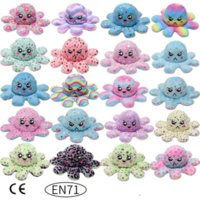 DHL Shipping Glow in the Dark Christmas gift sequined doll double-sided flip printed luminous plush octopus flipped with LED light