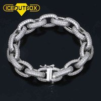 10mm Exaggerated Punk Thick Cuban Link Chain Bracelets For Men's Hip Hop Jewelry AAA+ Cubic Zirconia Drop Shopping Crystal Gift A0611