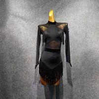 2021 New Black Long Sleeve Tassel Design Latin Dance Dress Dancing Performance Women Dress Ballroom Samba Tango T048-2