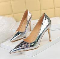 Designer di lusso tacchi alti scarpe moda in vera pelle aperta su sandali formale di slanggi del tallone chunky 34-42 BG046-001
