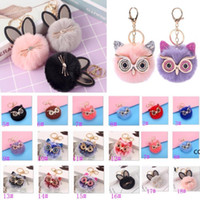 Party Gifts Cute Cat Fur Ball Keychain Girls Star Hand Bag Car Ornaments Accessories Sequins Big Eyes Owl Pendant Keyring DHD10331