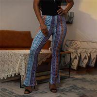 Women's Pants & Capris 2021 Boho Summer Stretch Bell Bottom Trousers Ladies Slim Printed Flared High Waist Fashion Women Long
