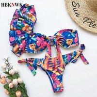 Sexy um ombro biquínis conjunto plissado swimwear mulheres swimsuit tanga brasileiro brasileiro fêmea 2 peça de banho terno praia desgaste 210318