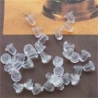 Commercio all'ingrosso 1000 pz / borsa, orecchini di gioielli fai da te orecchini in gomma per orecchini orecchini accessori per orecchini Cappucci in plastica Plut back-end Plugs Colore bianco, PT-0012 325 Q2