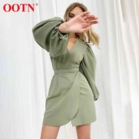 Lila Asymmetrie Minikleid Tunika Hohe Taille Damen Elegante sexy V-Ausschnitt Laterne Langarm Green Dresses Womens Mode