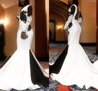 Elegant White Black Satin Evening Dresses Sweep Train Backless Mermaid Prom Dress Applique Lace Long Sleeves Formal Party Gowns