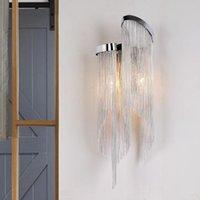 Kişilik Postmodern Püskül LED Duvar Lambası Tasarımcısı Yaratıcı Oturma Odası Yatak Odası Başucu Alüminyum Zincir Dekoratif