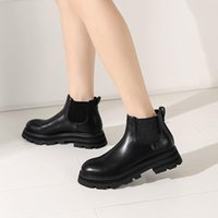Boots Elegant Genuine Leather Autumn And Winter Shoes For Women Platform Chunky Heels Pumps Est Party Basic Woman