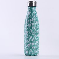 500ml 17oz Cola Shaped mug Stainless Steel tumbler Multicolor grass pattern Double wall Vacuum Insulated Travel Sports Thermos