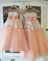 Robes pour fille Robe de fille de fleur de dentelle rose et blanc pour la fête de mariage Premier Pageant communion jupe Vestidos Primera Comunion Para Ninas