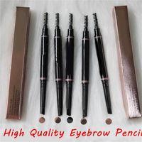 Makeup EyebrOw Enhancers compõem o lápis de lápis de sobrancelha magro Duplo terminado com sobrancelhas escova 5 cor Ebony / Médio / Soft / Shirt / Chocolate Drop Ship