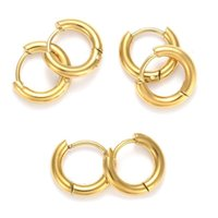 Hoop & Huggie 6 Pairs 304 Stainless Steel Ring Earrings For Women Hypoallergenic Thick Earring Unisex Ear Buckle Fashion Jewelry