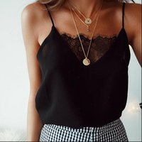 Mujeres Camis Negro Blanco Lace Thin Slight Slight Tops Femenino Summer Sexy Correa de gasa Sin mangas Ver a través Camisole