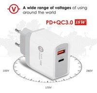 PD TYPE-C 18W Cargador con QC3.0 Adaptive Fast Carging USB Cargador de teléfono móvil Dual Port Wall Travel Charger para iPhone XR Samsung S20 S10