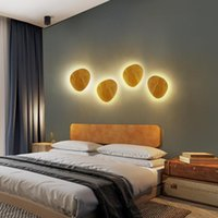 Wall Lamp Creative Round LED Solid Wood Wrought Iron Nordic Interior Bedroom Living Room Aisle Home Lighting