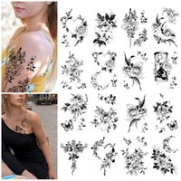 Temporary Tattoo Stickers Fake Tattoos Sketch Flowers Waterproof Removable Sticker for Women Men Body Art Semi-permanent Makeup Supplies Cross Butterfly 3D Decals