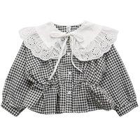 셔츠 DFXD 아기 소녀 공주 의상 2021 봄 격자 무늬 레이스 큰 턴 다운 칼라 탄성 허리 블라우스 탑 2-7 트 아이들의 옷