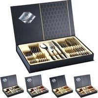 Посуда из нержавеющей стали 1010 западный пищевой нож вилка подарочная коробка подарочная коробка установлен серебряный золотой нож вилка 24 частей набор