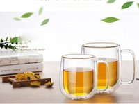 250ml Double-layer Glass Creative Coffee Cup tea Cup High Borosilicate Glass High Temperature Resistant Belly Mug DHD6634