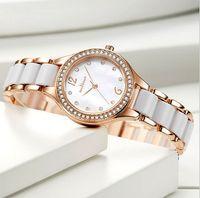 Newest Arrival Ceramic Quartz Movement Womens Watch Bracelet Diamond Shiny Ladies Watches Life Waterproof 7MM Thin Dial Wristwatches