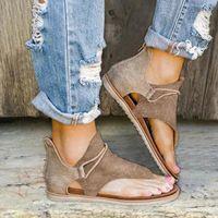 Frauen Sommer Clip Zehen Sandalen Schuhe Sandalia Feminina Damen Reißverschluss Bequeme Wohnungen Sandalen Casual Beach Sandale Zapatos de Mujer Neue N58s #
