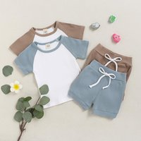 INS Wholesale Fashions Baby Kids Girls Boys Children Clothing Sets Cotton Suits Short Sleeve Patchwork Tops Straps Shorts 2Pieces Summer Outfits