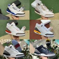 Jumpman Racer Mavi 3 3s Basketbol Ayakkabıları Erkek Serin Gri Bir Ma Maniere UNC Parçası Knicks Siyah Mahkemesi Mor Siyah Çimento Saf Beyaz Salonu Şöhret Jth Trainer Sneakers